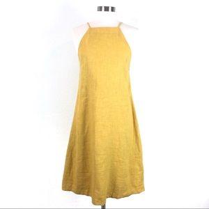 Mod Ref Yellow Linen Sleeveless A Line Midi Dress